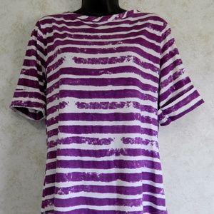 Peck & Peck Tie Dye Purple Stripe Women's Top Lge